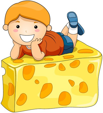 food illustrations: Boy on Cheese