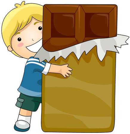 chocolate bar: Boy and Chocolate Stock Photo