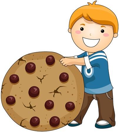 cookie chocolat: Gar�on avec les cookies Cip chocolat  Banque d'images