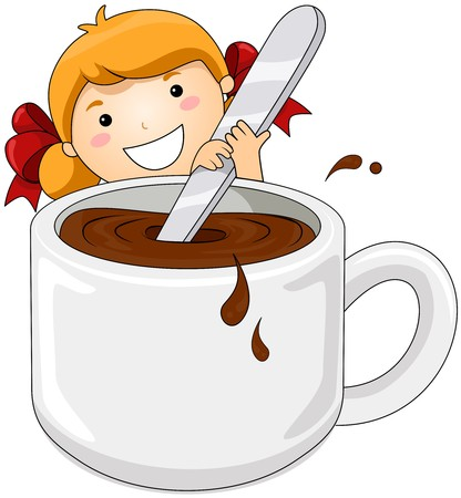 Girl stirring Hot Chocolate  Stock Photo