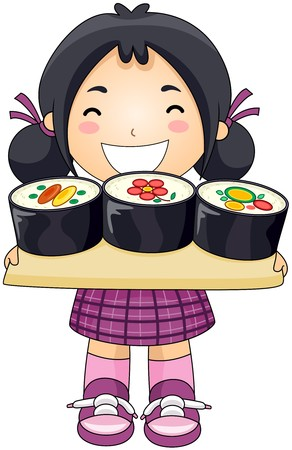 kids food: Girl with Sushi