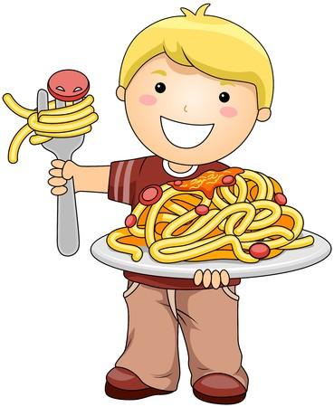 spaghetti: Boy with Spaghetti  Stock Photo
