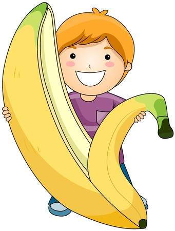 banana skin: Boy with Banana