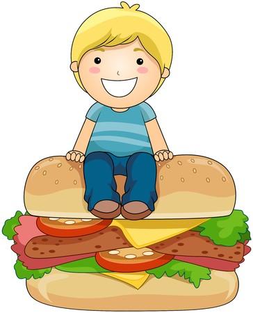 Boy on Burger photo