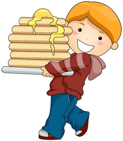 mantequilla: Chico con pancakes  Foto de archivo