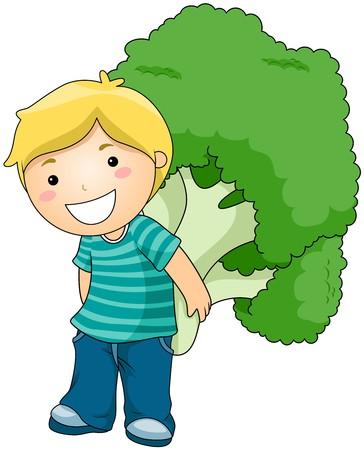 broccoli: Boy with Broccoli  Stock Photo