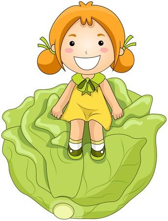 fruits vegetables: Girl on Cabbage
