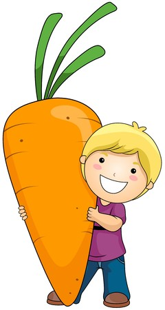 carrot isolated: Boy with Carrot