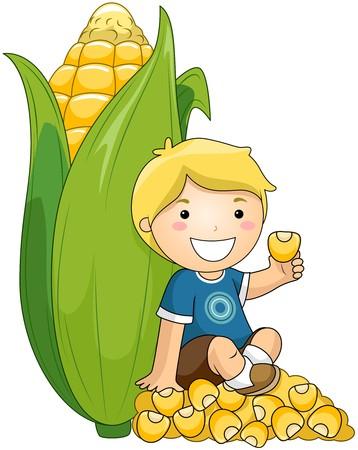 corn cob: Boy with Corn
