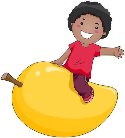 Boy on Mango  photo