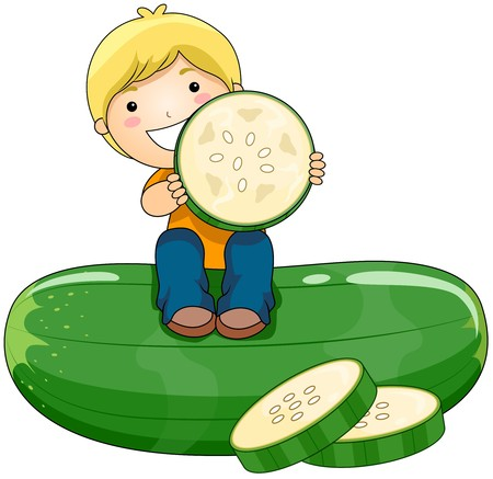 cucumbers: Boy with Cucumber Stock Photo