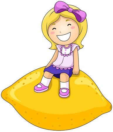 Girl on Lemon  photo