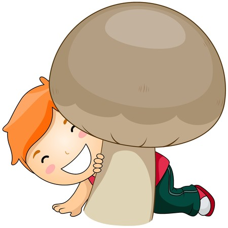 button mushroom: Boy and Mushroom Stock Photo