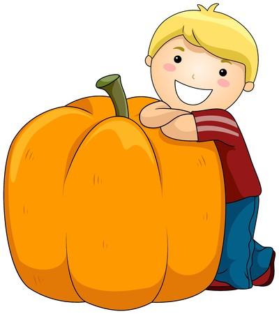 Boy with Pumpkin  photo