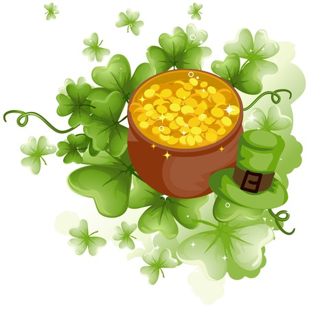 pot of gold: Pot of Gold with Shamrocks