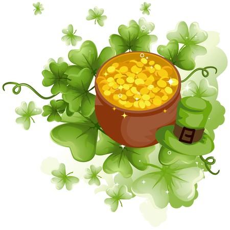 Pot of Gold with Shamrocks Stock Photo - 7110562