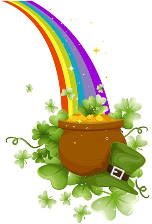 Pot of Gold at the End of the Rainbow Stock Photo - 7110516