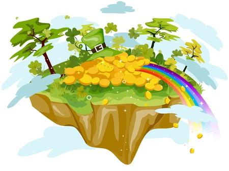 isla flotante: Floating Island con oro y arco iris