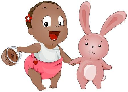 Baby with Bunny  photo