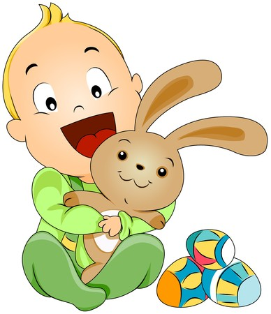 Baby with Easter Bunny  photo