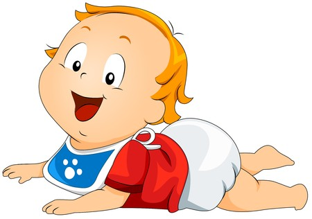 baby in diaper: Baby lying on Stomach Stock Photo