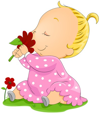 smelling: Baby smelling Flower Stock Photo