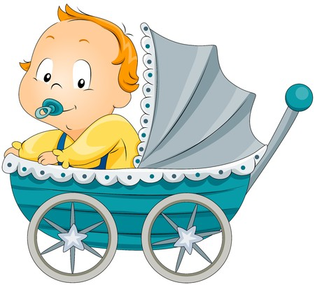 pram: Baby Boy in Pram Stock Photo