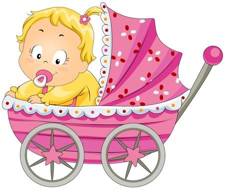 Baby Girl in Pram  photo