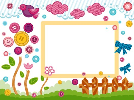flower clip art: Frame Design with Buttons and Ribbons
