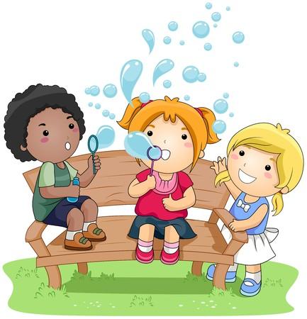 playmates: Niños que soplar burbujas en el Parque  Foto de archivo