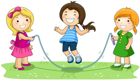 jumps: Children jumping Rope in the Park with Clipping Path
