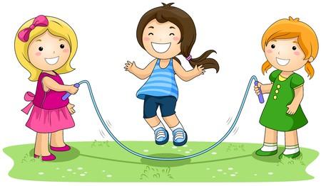 jump rope: Ni�os saltando la cuerda en el parque con trazado de recorte  Foto de archivo