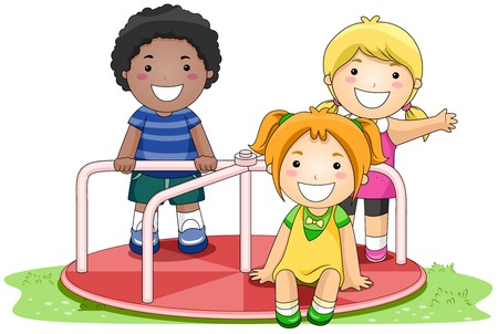 playmates: Children on Merry Go Round in the Park  Stock Photo