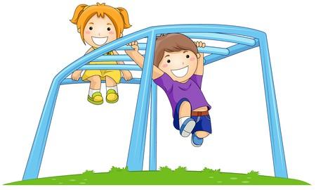 playmates: Niños en Monkey Bar en el Parque  Foto de archivo