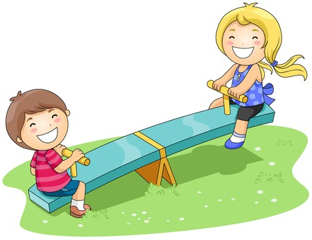 Children on Seesaw in the Park with Clipping Path Stock Photo - 7334660