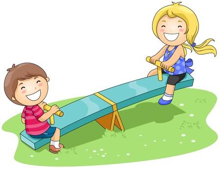 playmates: Niños en Seesaw en el parque con trazado de recorte  Foto de archivo