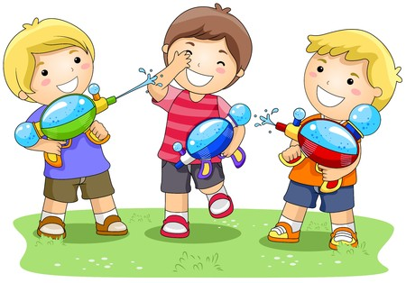 playmates: Children playing with Water Gun in the Park Stock Photo