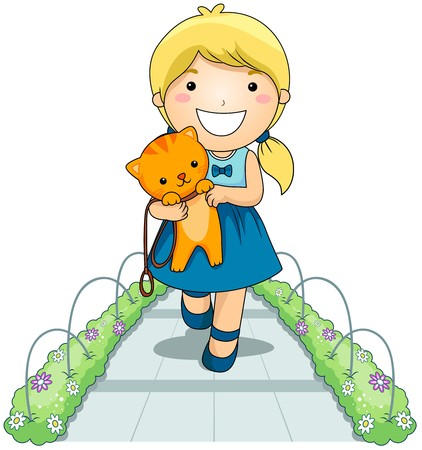 Girl with Pet Cat in the Park  photo