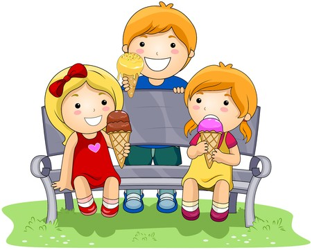 kids eating: Children eating Ice Cream in the Park Stock Photo