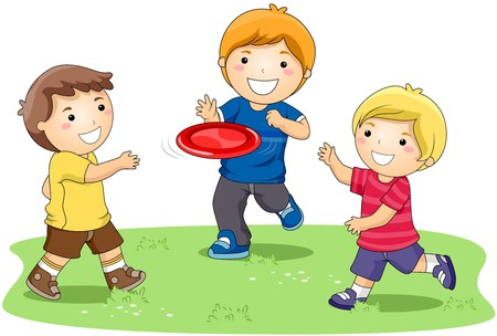 children clipart: Children playing  in the Park  Stock Photo