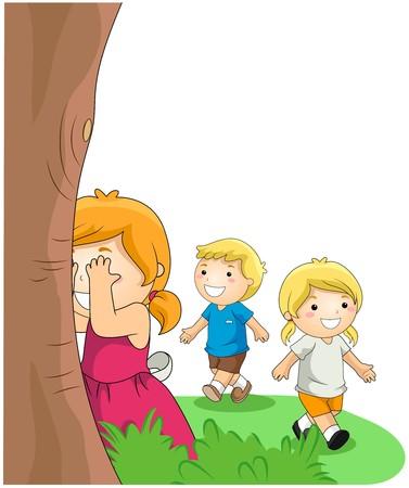playmates: Niños jugando Hide and Seek  Foto de archivo
