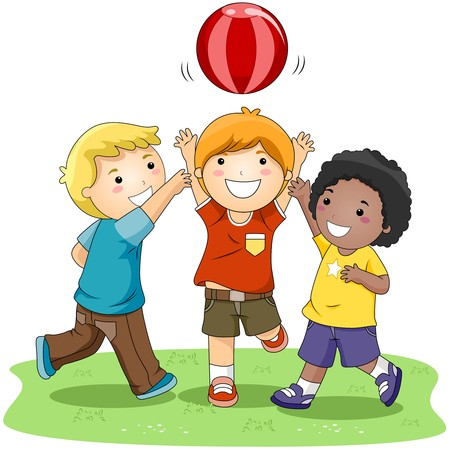 playmates: Niños jugando Ball en el Parque