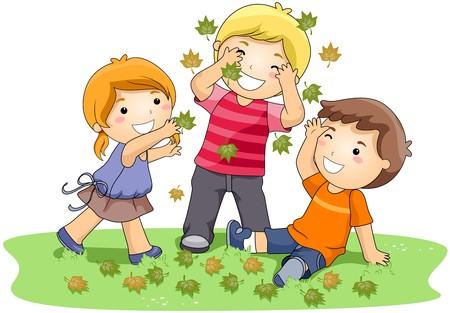 playmates: Niños jugando con hojas en el Parque