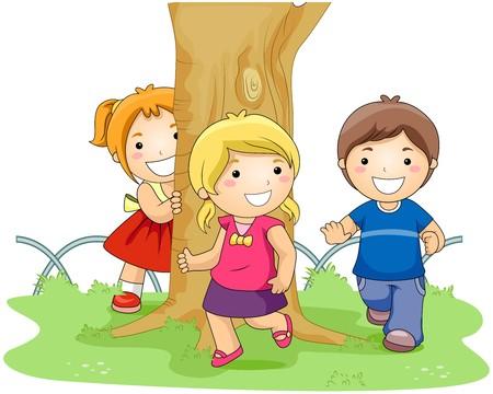 playmates: Ni�os jugando Tag en el Parque  Foto de archivo