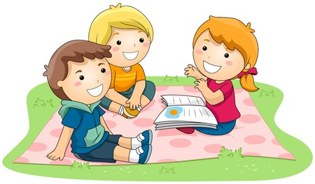 kids reading book: Girl telling Stories in the Park