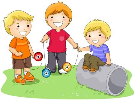 playmates: Niños jugando Yoyo en el Parque