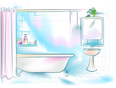 shower curtain: Bathroom Illustration
