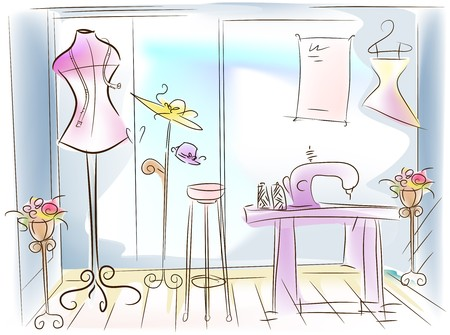 dressmaking: Dressmaking  Sewing Room Illustration Stock Photo