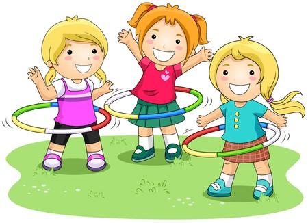 hoops: Girls playing Hula Hoops