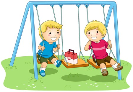 kids playground: Boys on Swing in the Park